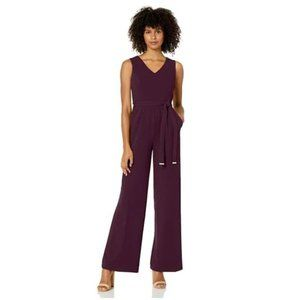 TOMMY HILFIGER Belted Jumpsuit Size 2 Purple NWT